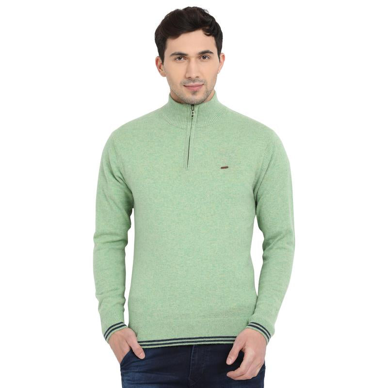 t-base Pale Green Mock Collar Solid Sweater