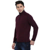 t-base Maroon Mock Collar Self Design Sweater