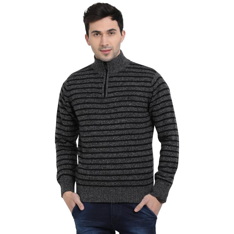 t-base Black Mock Collar Stripe Sweater