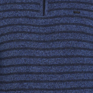t-base Blue Mock Collar Stripe Sweater