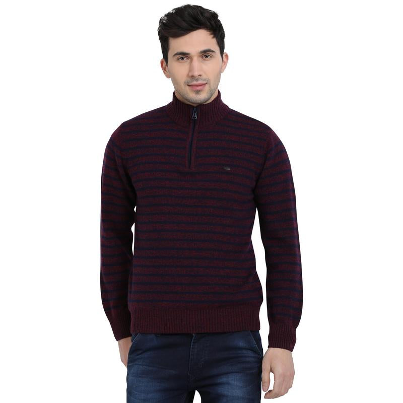 t-base Maroon Mock Collar Stripe Sweater
