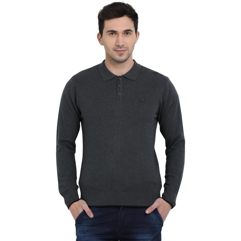t-base Anthra Polo Neck Solid Sweater