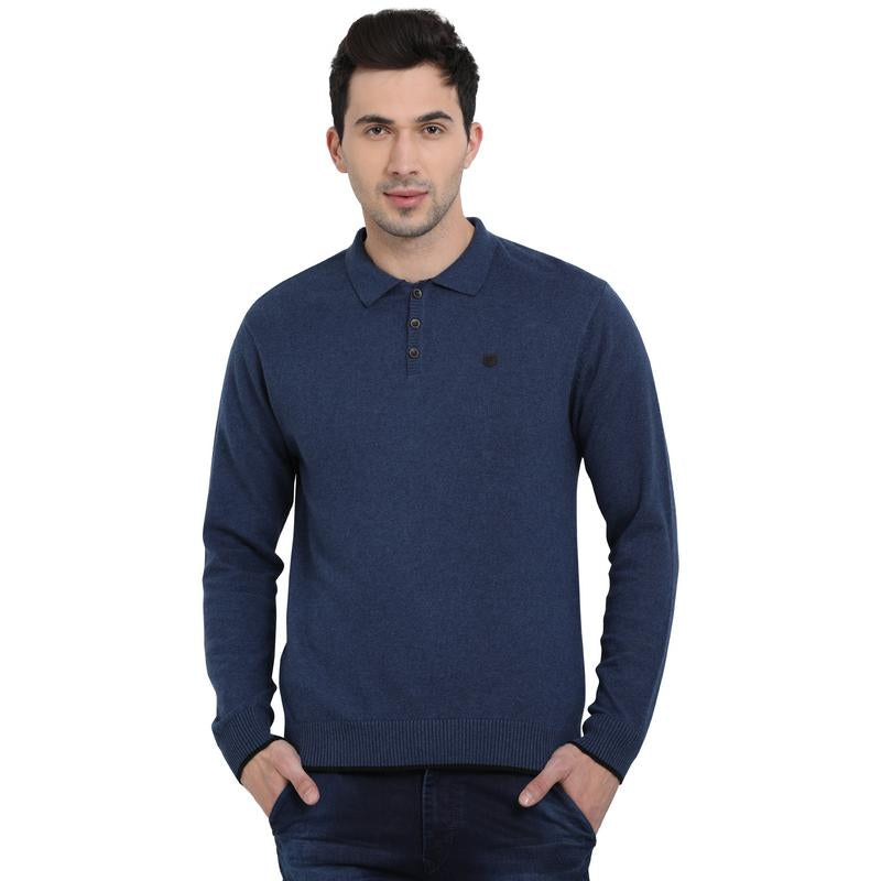 t-base Mood Indigo Polo Neck Solid Sweater