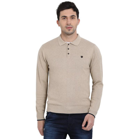 t-base Oatmeal Polo Neck Solid Sweater