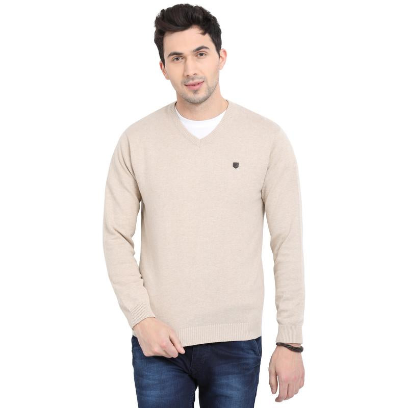 t-base Beige V Neck Solid Sweater