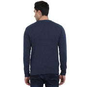 t-base Navy Round Neck Solid Sweater