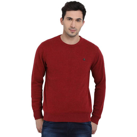 t-base Red Round Neck Solid Sweater