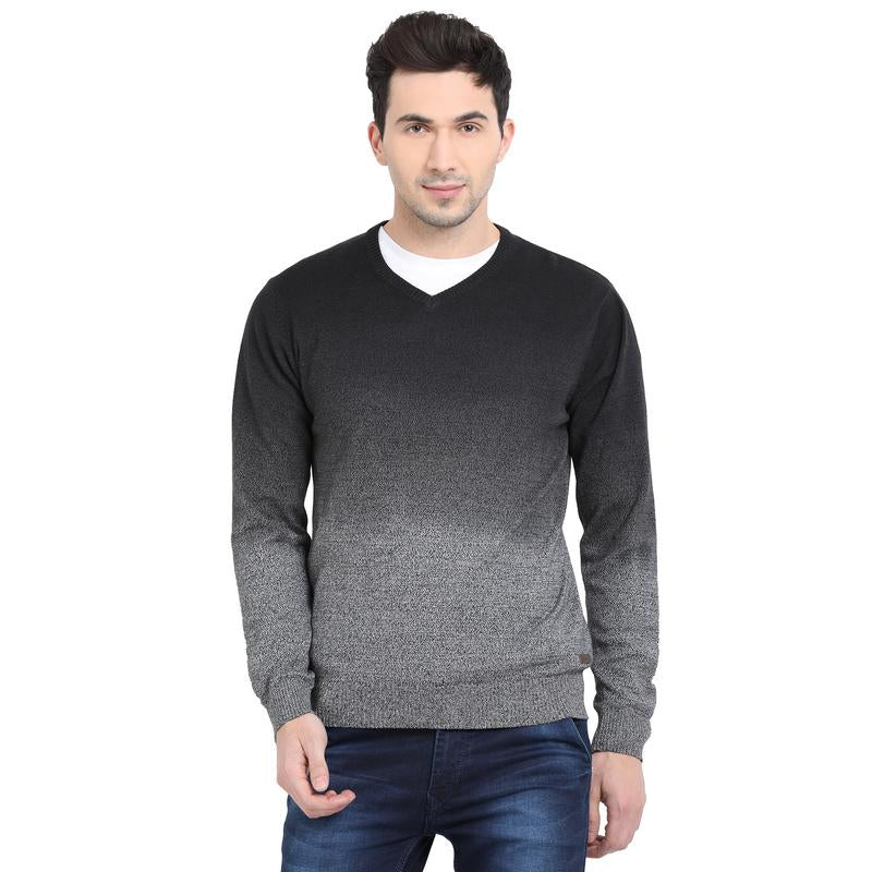 t-base Dark Indigo V Neck Dip Dyed Sweater