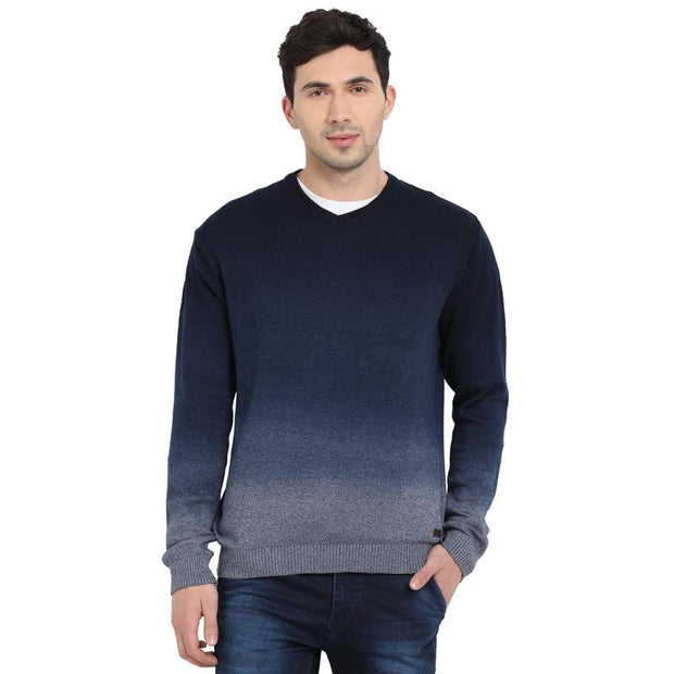 7bc2fdbbe19 Buy t-base Dark Indigo V Neck Dip Dyed Sweater for Men Online India ...