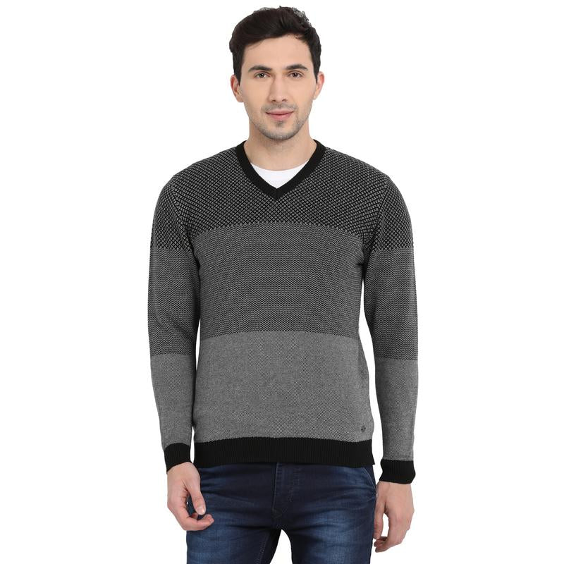 t-base Black V Neck Self Design Sweater