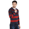 t-base Indigo V Neck Colour blocked Sweater