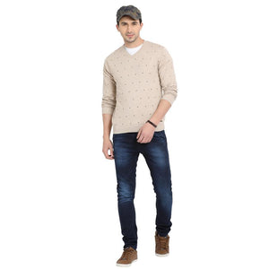 t-base Oatmeal V Neck Printed Sweater