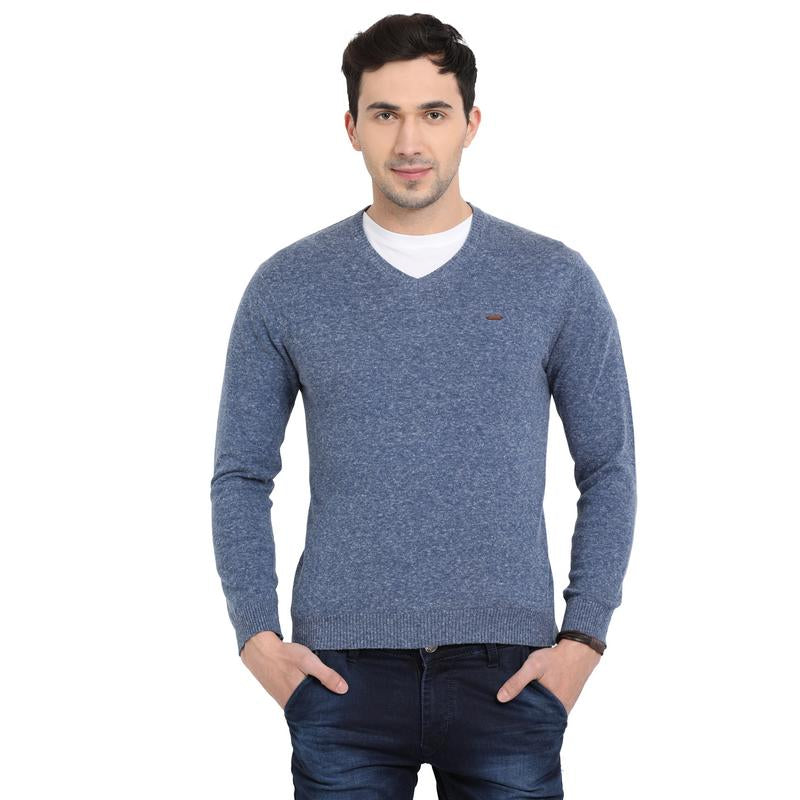 t-base Blue V Neck Self Design Sweater