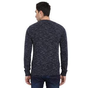 t-base Navy V Neck Self Design Sweater