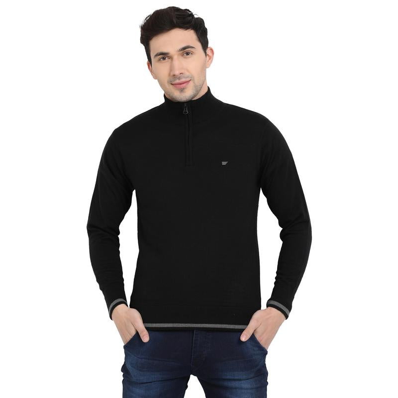 t-base Black Mock Collar Solid Sweater