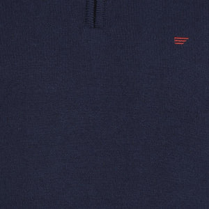 t-base Navy Mock Collar Solid Sweater