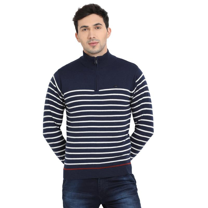 t-base Navy Mock Collar Stripe Sweater