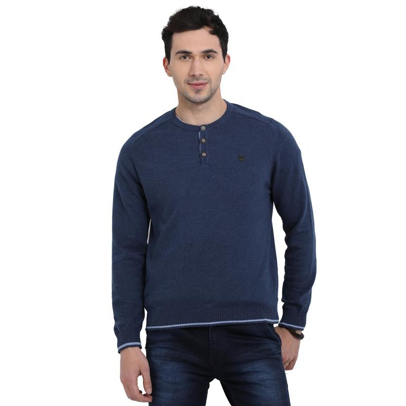 t-base Indigo Henley Neck Solid Sweater