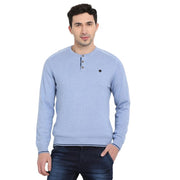 t-base Blue Henley Neck Solid Sweater