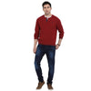t-base Maroon Henley Neck Solid Sweater