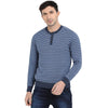 t-base Indigo Henley Neck Stripe Sweater