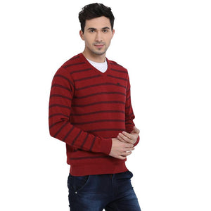 t-base Red V Neck Stripe Sweater