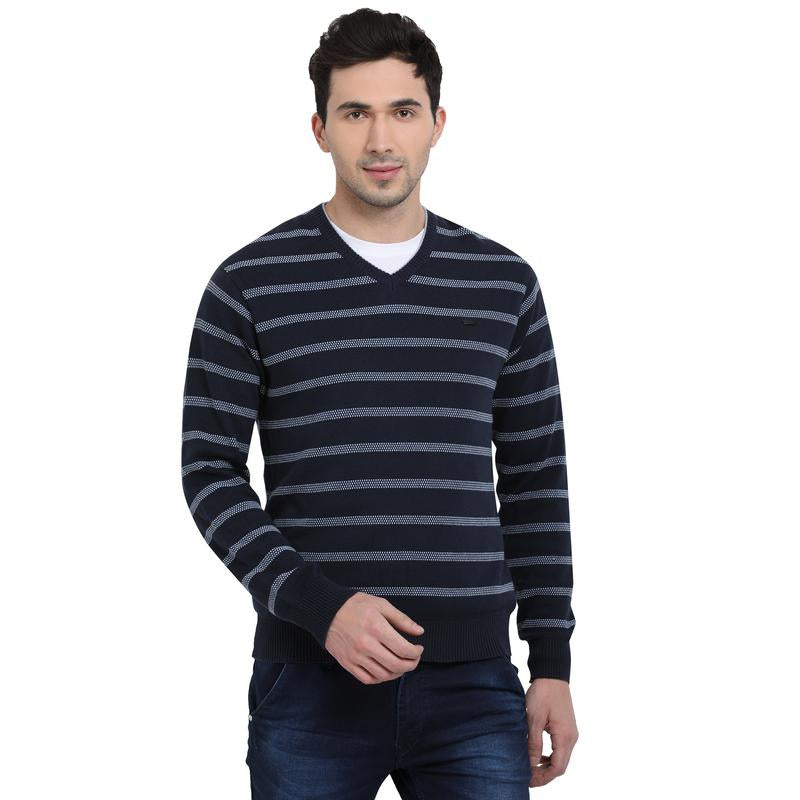 t-base Midnight Navy V Neck Stripe Sweater