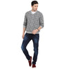 t-base Grey V Neck Jacquard Sweater