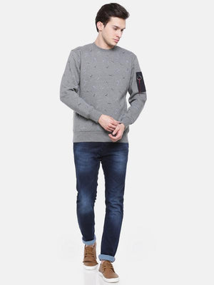 t-base Grey Solid Crew Neck Sweatshirt