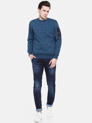 t-base Blue Solid Crew Neck Sweatshirt