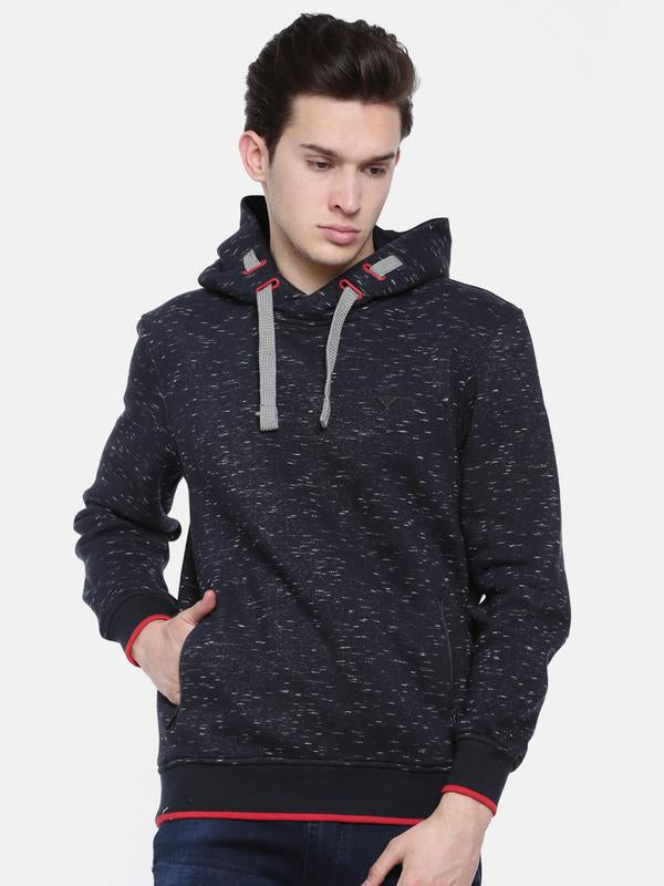 t-base Blue Printed Hooded Sweatshirt
