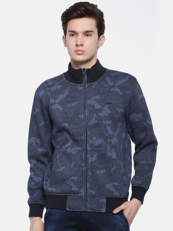 t-base Blue Camo Printed Mandarin Collar Sweatshirt