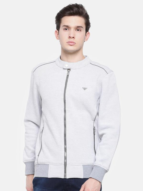 t-base Grey Solid Mandarin Collar Biker Sweatshirt