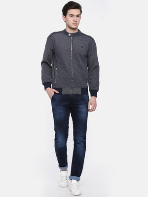 t-base Navy Blue Solid Mandarin Collar Biker Sweatshirt