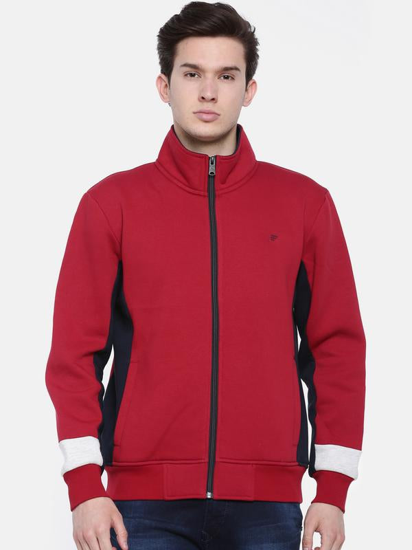 t-base Red Solid Mock Collar Sweatshirt