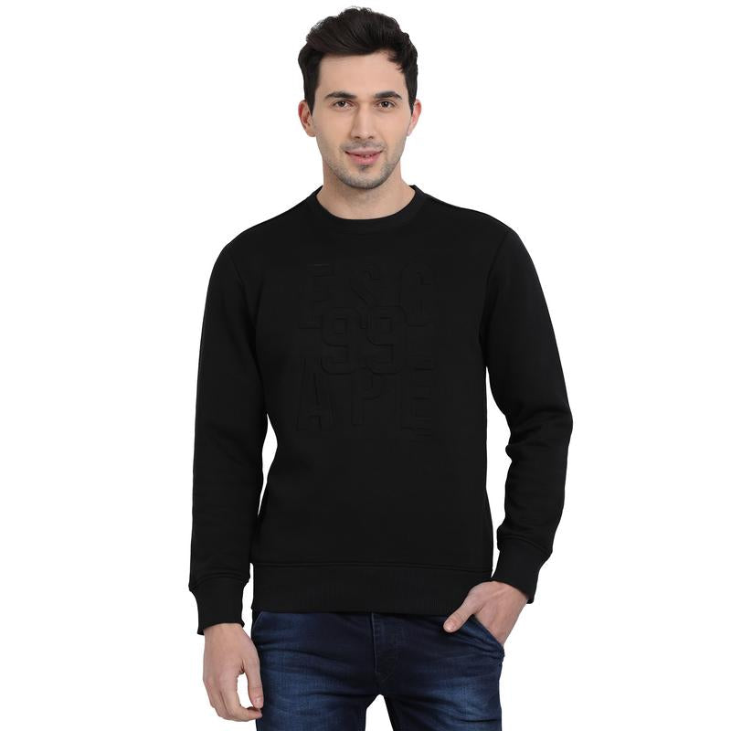 t-base Black Graphic Round Neck Sweatshirt
