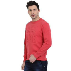 t-base Orange Graphic Round Neck Sweatshirt