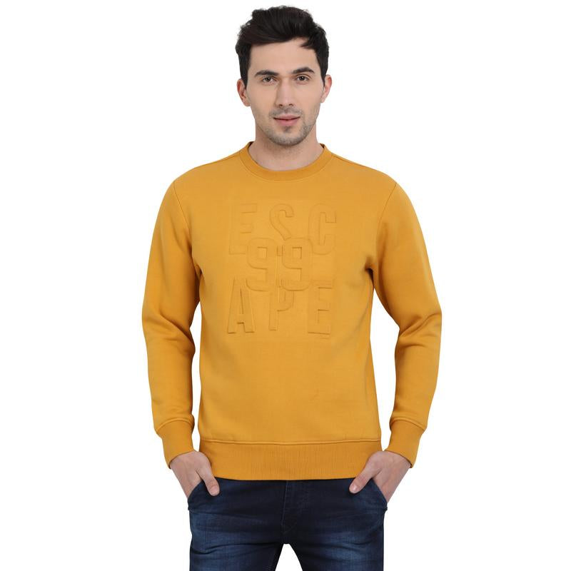 t-base Yellow Graphic Round Neck Sweatshirt