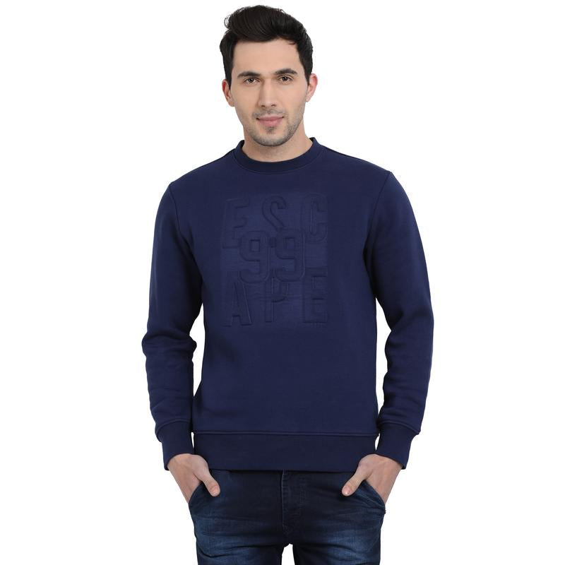 t-base Blue Graphic Round Neck Sweatshirt
