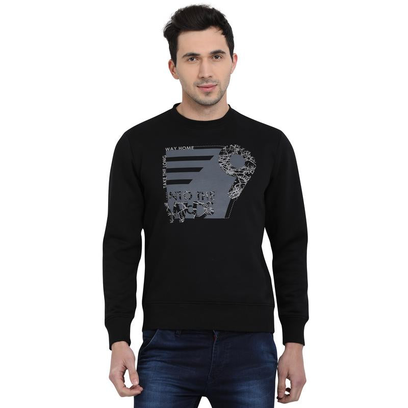 t-base Black Printed Graphic Round Neck Sweatshirt