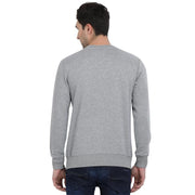 t-base Grey Printed Graphic Round Neck Sweatshirt