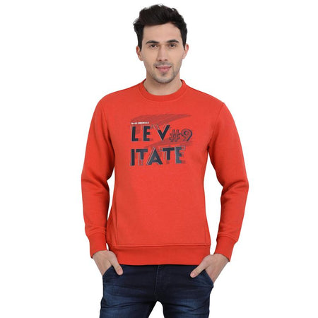 t-base Orange Printed Graphic Round Neck Sweatshirt