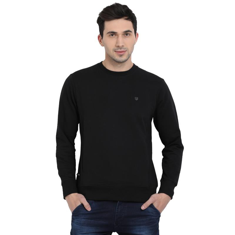 t-base Black Solid Round Neck Sweatshirt