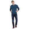 t-base Blue Solid Round Neck Sweatshirt