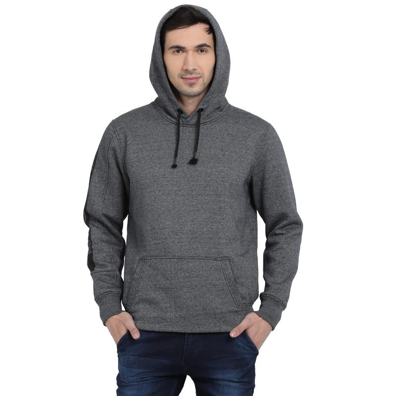 t-base Black Solid Hooded Sweatshirt