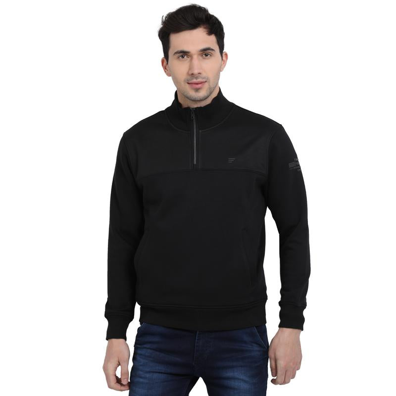 t-base Black Solid Mock Collar Sweatshirt