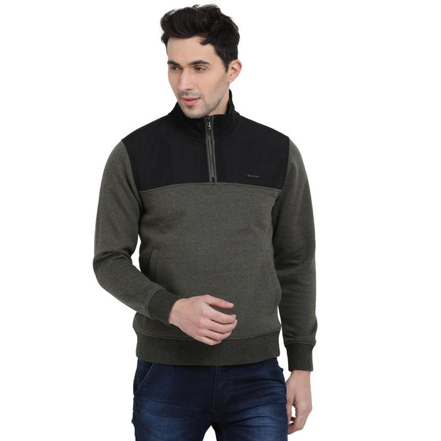 t-base Olive Solid Mock Collar Sweatshirt