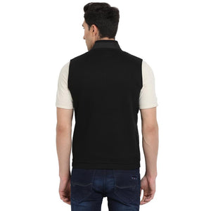 t-base Black Solid Sleeveless Sweatshirt