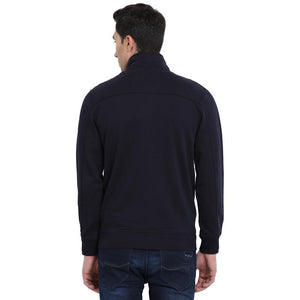t-base Navy Solid Mock Collar Sweatshirt