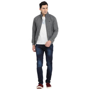 t-base Grey Solid Mock Collar Sweatshirt